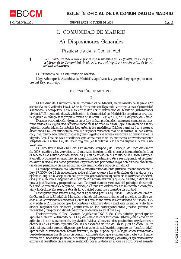 Publicacion Modificacion de la Ley del Suelo CAM