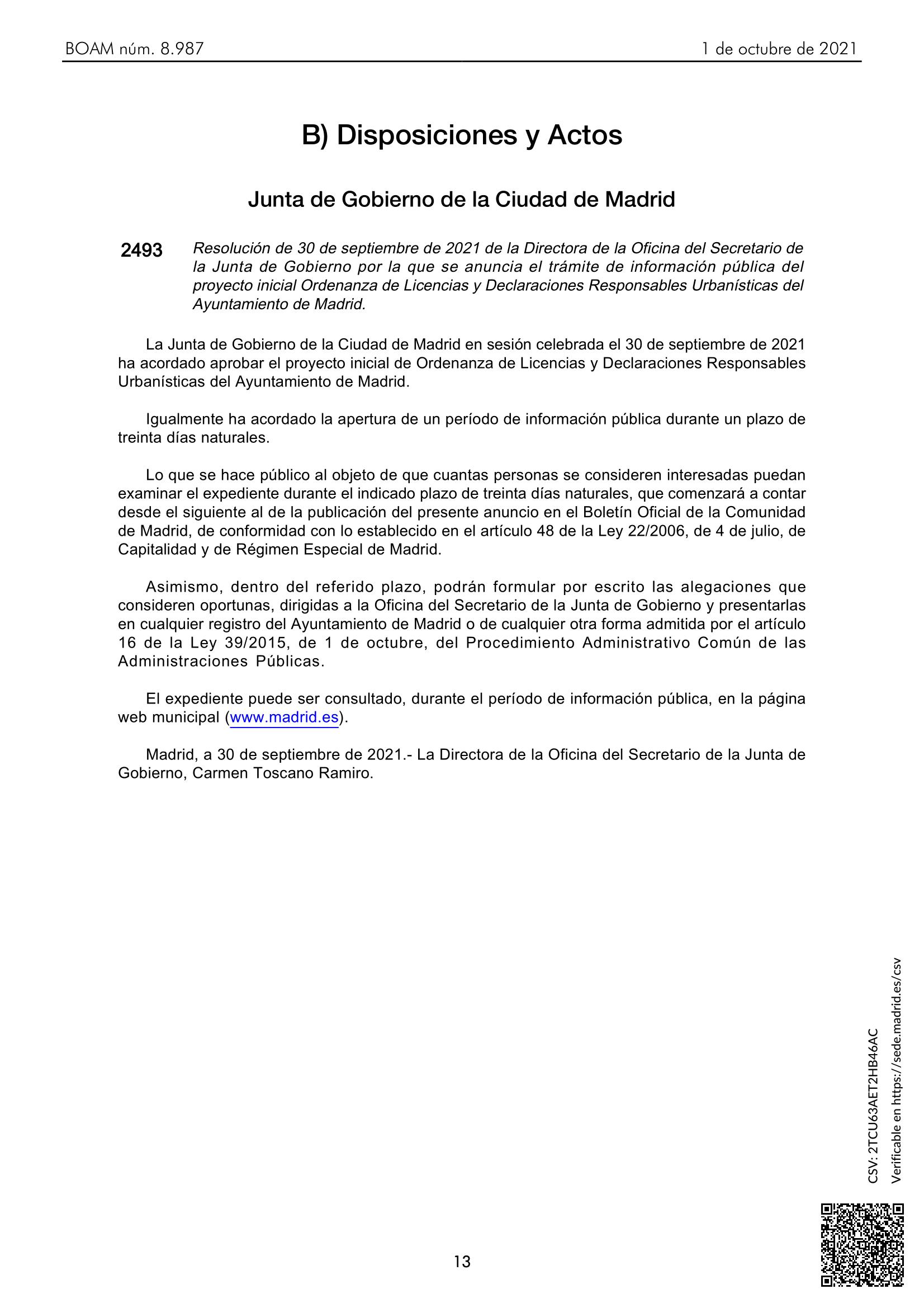 Publicación BOAM Información Pública OLDRUM